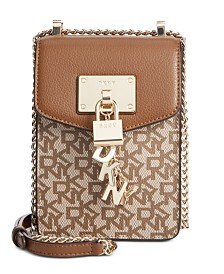 DKNY Elissa Leather Chain Strap Signature Crossbody, Created for Macy's