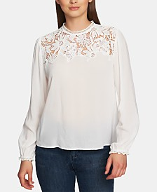 1.STATE Lace-Trim Mock-Neck Blouse