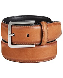 Men's Burnished-Edge Leather Belt