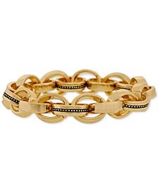 Gold-Tone Multi-Ring Link Stretch Bracelet
