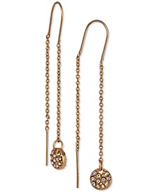 Gold-Tone Pavé Disc Threader Earrings