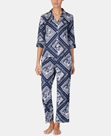 Lauren Ralph Lauren Printed Cotton 3/4-Sleeve Top and Pajama Pants Set
