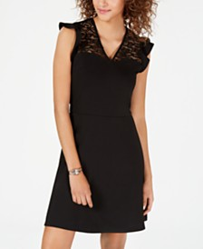 XOXO Juniors' Lace-Trim Skater Dress