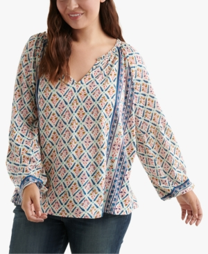 Lucky Brand Tops PLUS SIZE PRINTED SHIRRED-NECK TOP