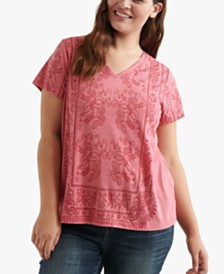 Lucky Brand Plus Size Printed V-Neck T-Shirt