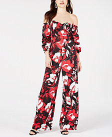 GUESS Zooey Printed Off-The-Shoulder Jumpsuit