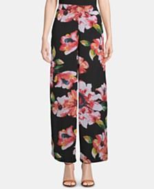 ECI Floral-Print Pull-On Pants