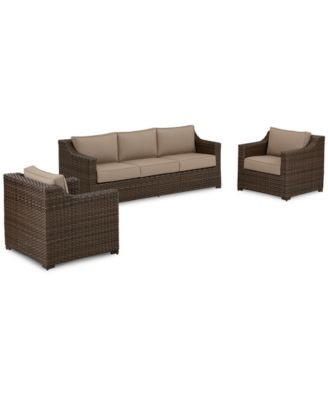 Camden Outdoor Wicker 3-Pc. Seating Set (1 Sofa & 2 Chairs), Created for Macy's
