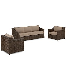 Camden Outdoor Aluminum 3-Pc. Seating Set (1 Sofa & 2 Chairs), Created for Macy's
