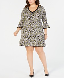 MICHAEL Michael Kors Plus Size Printed Bell-Sleeve Dress