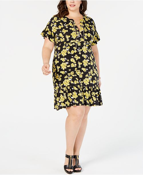 Michael Kors Plus Size Lace-Up Printed Dress & Reviews ...