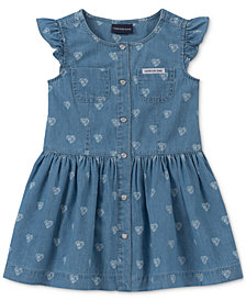 Calvin Klein Toddler Girls Cotton Heart-Print Denim Dress