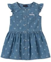 ecbd7b62c8d9 Calvin Klein Toddler Girls Cotton Heart-Print Denim Dress