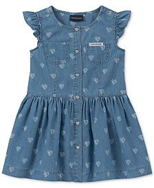 Calvin Klein Little Girls Cotton Heart-Print Denim Dress