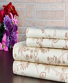 100% Cotton Flannel Printed King Sheet Set