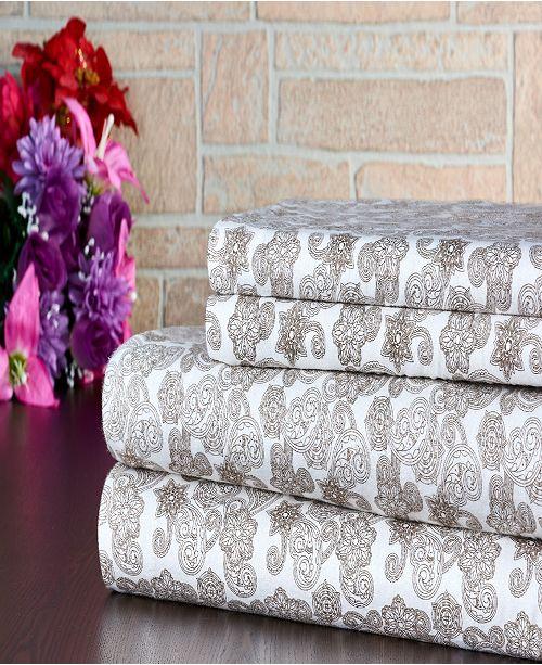 Bibb Home 100% Cotton Flannel Printed Queen Sheet Set