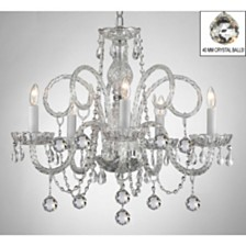 Murano Empress Crystal 5-Light Chandelier with Faceted Crystal Balls