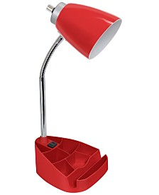 Limelight's Gooseneck Organizer Desk Lamp with iPad Tablet Stand Book Holder and Charging Outlet