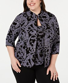 Alex Evenings Plus Size Glitter-Print Twinset