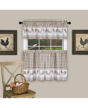 Image of Achim BRTV24TP12 58 x 24 in. Barnyard Window Curtain Tier Pair & Valance Set Taupe