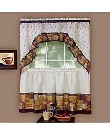 Coffee Printed Tier and Swag Window Curtain Set, 57x24