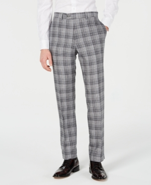 1920s Men's Pants, Trousers, Plus Fours, Knickers Bar Iii Mens Slim-Fit Linen Gray Plaid Suit Pants Created for Macys $47.99 AT vintagedancer.com