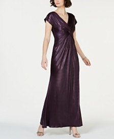 Adrianna Papell Twisted Metallic Gown