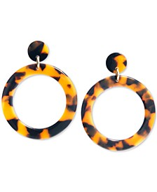 Gold-Tone Acetate Tortoise Shell-Look Drop Earrings