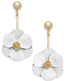 Gold-Tone Painted Flower Drop Earrings
