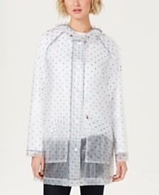 Tommy Hilfiger Sheer Polka Dot Slicker Raincoat