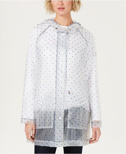 2019 wholesale price store cozy fresh Tommy Hilfiger Sheer Polka Dot Slicker Raincoat & Reviews ...