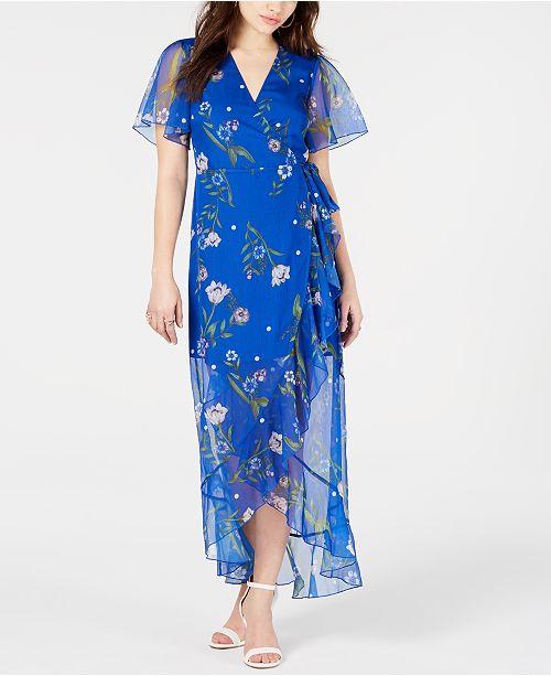 bf5157d1261 GUESS Junia Floral-Print Wrap Dress   Reviews - Dresses - Juniors ...