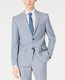 Men's Modern-Fit Light Blue Sharkskin Suit Jacket