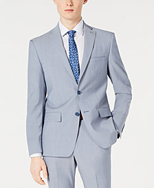 DKNY Men's Modern-Fit Light Blue Sharkskin Suit Jacket