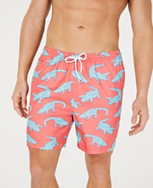 "Trunks Surf & Swim Co. Men's Alligator-Print 6"" Volley Swim Trunks, Created for Macy's"