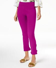 I.N.C. Curvy Ruffled-Hem Ankle Skinny Pants, Created for Macy's