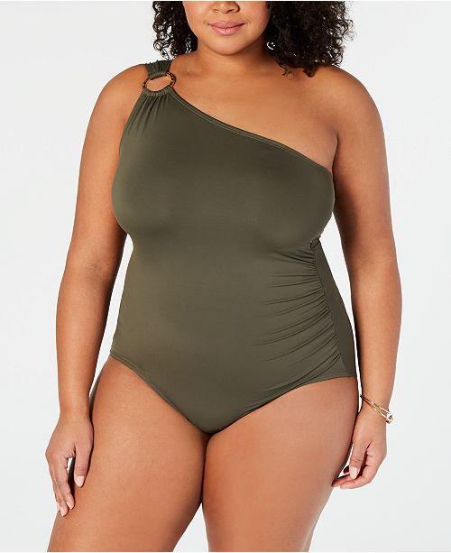 Michael Kors Plus Size One-Shoulder One-Piece Swimsuit