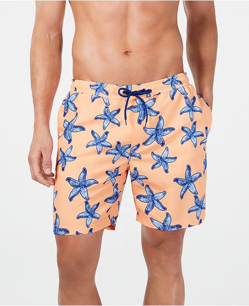 "Club Room Men's Quick-Dry Performance Starfish-Print 7"" Swim Trunks, Created for Macy's"