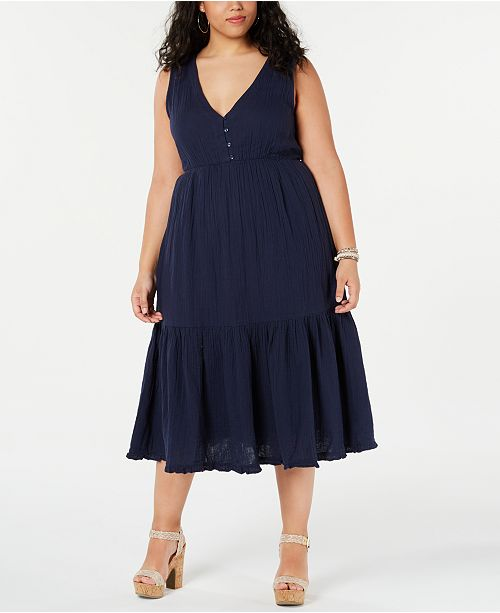 Lucky Brand Cotton Plus Size Ruffle-Hem Dress