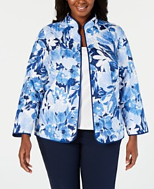 Alfred Dunner Plus Size Classic Floral-Print Jacket