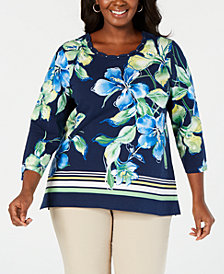 Alfred Dunner Plus Size Cote d' Azur Printed Top