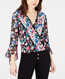 GUESS Donna Printed Surplice-Neck Blouse