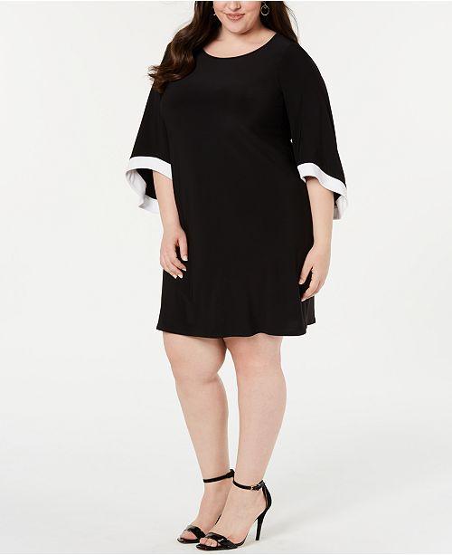 Size pour et femmes Plus trapèze a robes manches evasees Msk Robe Noirblanc n0OP8wkX