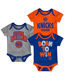 New York Knicks 3 Piece Bodysuit Set, Infants (0-9 Months)
