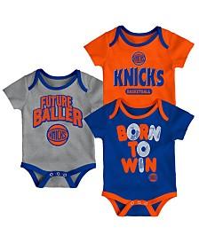 Outerstuff New York Knicks 3 Piece Bodysuit Set, Infants (0-9 Months)