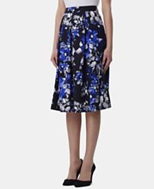 Tahari ASL Printed Pleated A-Line Midi Skirt