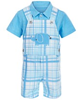 bf0f4c33b393 First Impressions Baby Boys 2-Pc. Polo & Elephant Plaid Shortall Set,  Created