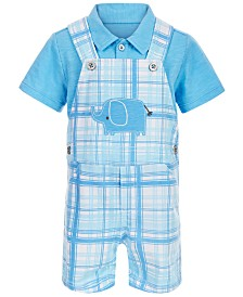 First Impressions Baby Boys 2-Pc. Polo & Elephant Plaid Shortall Set, Created for Macy's