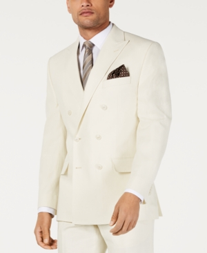 1900s Edwardian Men's Suits and Coats Sean John Mens Classic-Fit Off White Solid Double Breasted Suit Jacket $99.99 AT vintagedancer.com
