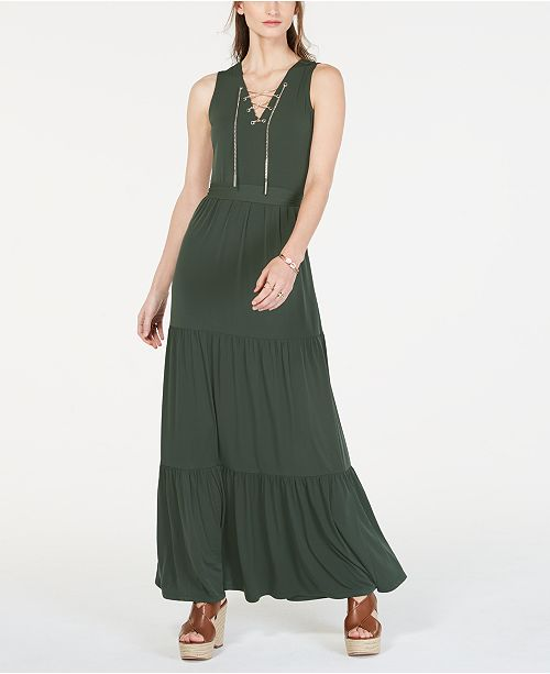 Michael Kors Chain Lace-Up Maxi Dress, In Regular & Petite Sizes